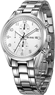 BUREI Mens Women Chronograph Quartz Watches with Analog Dial Stainless Steel Case Calfskin Leather and Stainless Steel Band (BM-7005-P51AY)