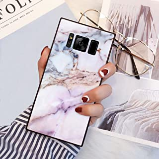 Samsung Galaxy S8 Plus Square Edge Case Heavy Duty Protection Shock Absorption Slim Soft TPU Cover Pink Marble Pattern for Samsung Galaxy S8 Plus