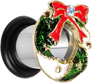 Body Candy Stainless Steel Festive Christmas Wreath Single Flare Ear Gauge Plug (1 Piece) 0 Gauge