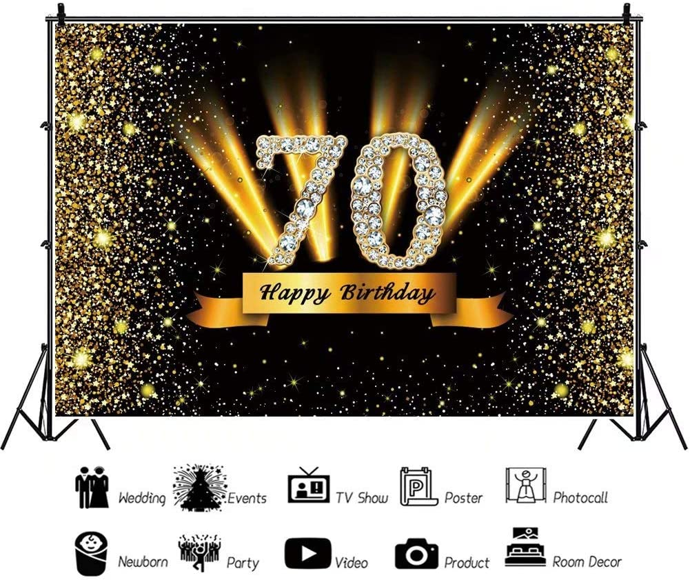 DaShan 14x10ft Gold and Black 70th Birthday Backdrop Adult Golden Glitter Diamonds Shiny Photography Background 70 Years Old Age Party Decoration Women Lady Cake Table Banner Photo Props