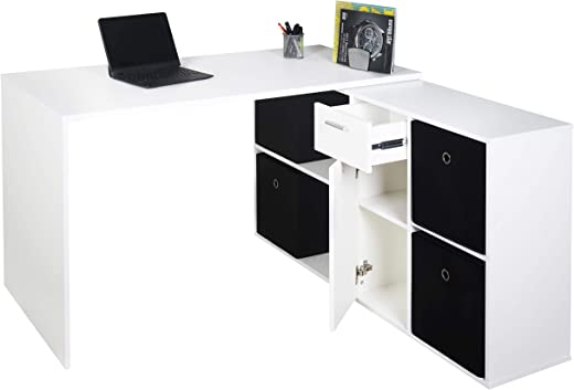RICOO Eck-Schreibtisch Arbeitstisch Winkel-Kombination Bürotisch (WM081-WM) Computer-Tisch (Flexibel 90-180°) Holz Hell Matt-Weiß mit Regal…