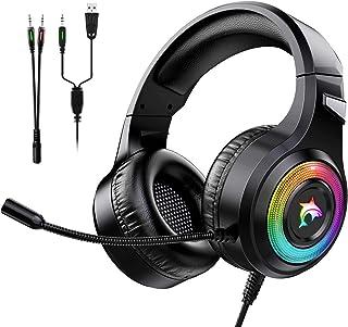 Cuffie Gaming per PS4 Cuffie da Gaming con Microfono e Bass Stereo Cuffie da Gioco con 3.5mm Jack LED e Controllo Volume Gaming Headset per PS5/Xbox One/Switch/PC/Mac/Laptop/Tablet (Blu)