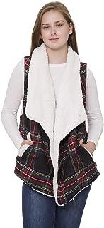 Janice Apparel Women's Winter Warm Fashion Open Front Ruana Tartan Pattern Sherpa Lined Vest Sweater w. Pockets