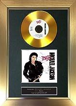 The Autograph Collector #104 Gold Disc - Póster de Michael Jackson Bad Album Firmado con autógrafo, tamaño A4, Marco Dorado, 30,48 x 20,32 cm