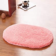 Oval Bathroom Non-Slip Mat, Non-Slip Absorbent Living Room Carpet, Plush Plush Bedside Carpet, Hand-Washable Soft and Comf...