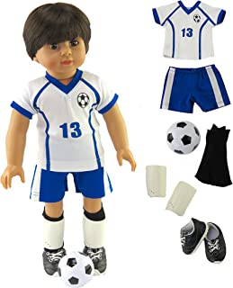 American Fashion Blue and White Soccer Uniform with Accessories made for 18 inch dolls such as American Girl Dolls