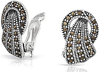 501d9e033 Vintage Style Marcasite Fan Circle Black Clip On Earrings For Women Non  Pierced Ears 925 Sterling