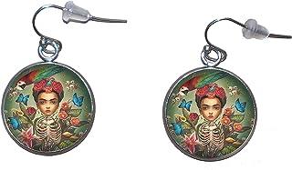 Orecchini pendenti in acciaio inossidabile, diametro 20 mm, fatto a mano, illustrazione Frida Ilustrador 3