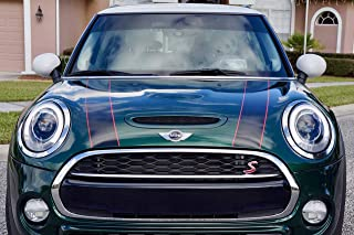The Pixel Hut gs00170 Black with Red Border Hood Stripes for MINI Cooper and S Hard Top..