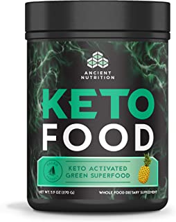 Ancient Nutrition KetoFOOD, Pineapple Flavor, 300 Grams, Keto Activated Green Superfood
