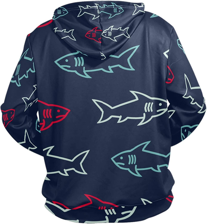 Men's Sport Hoodie Shark Cartoon Ocean Animal Big and Tall Hoodies for Men Women Oversized Hooded Sweatshirt Hip Hop Pullover Hoodie Midweight Hood for Boys Girls