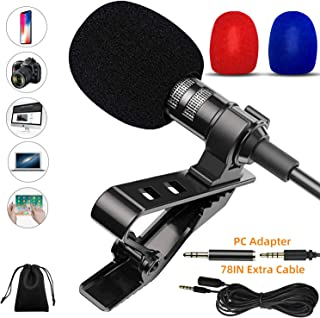 Lavalier Microphone, Professional Lapel Microphone, 3.5mm Omnidirectional Condenser Mic Compatible for iPhone iPad Mac Android Smartphones Computer, Clip on Microphone for Video Recording