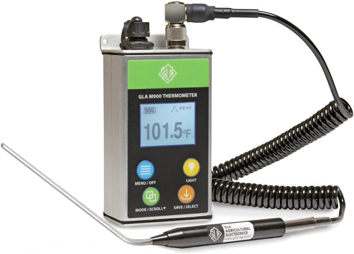 GLA M900 Veterinary Cattle Rectal Thermometer. New Design! Smaller, Lighter. Fast, Accurate Temps in 8-15 Secs. Big, Back-Lit LCD. Rechargeable. Built for Dairies & Feedlots. (Angled, 4.0 Inch) : Health & Household