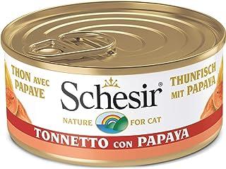 Schesir, Comida húmeda para Gatos Adultos, Sabor bacoreta con Papaya en gelatina Blanda con Verdaderos trozos de Fruta - T...