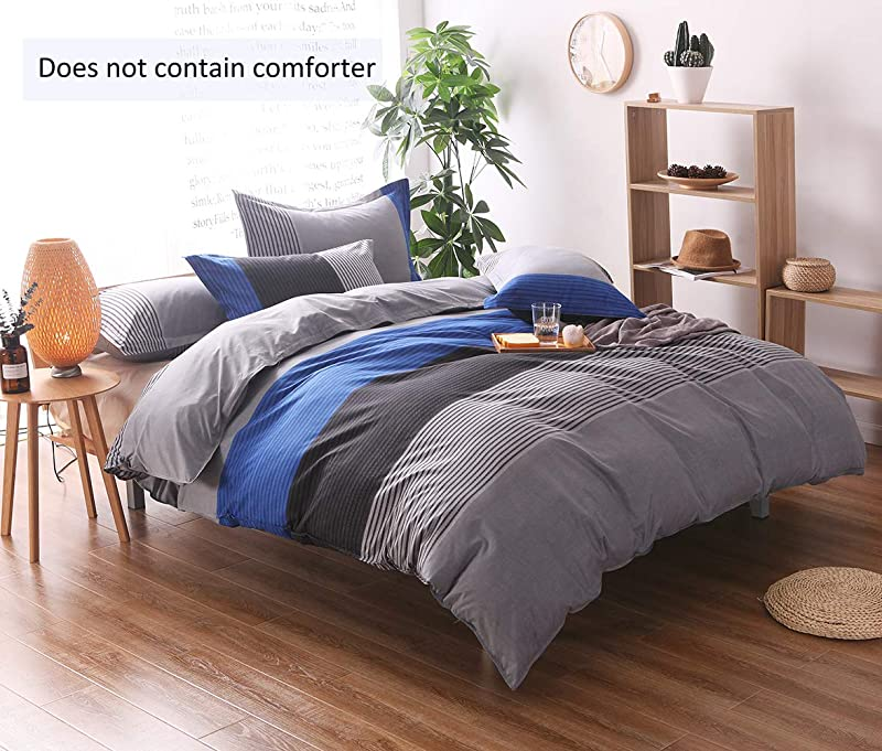 Striped Queen Duvet Cover Set 90x90 Inch 3 Pieces Include 1 Blue Grey And Black Microfiber Duvet Cover Zipper Closure And 2 Multicolored Pillowcase Bedding Set For Boys Girls Kids And Teens
