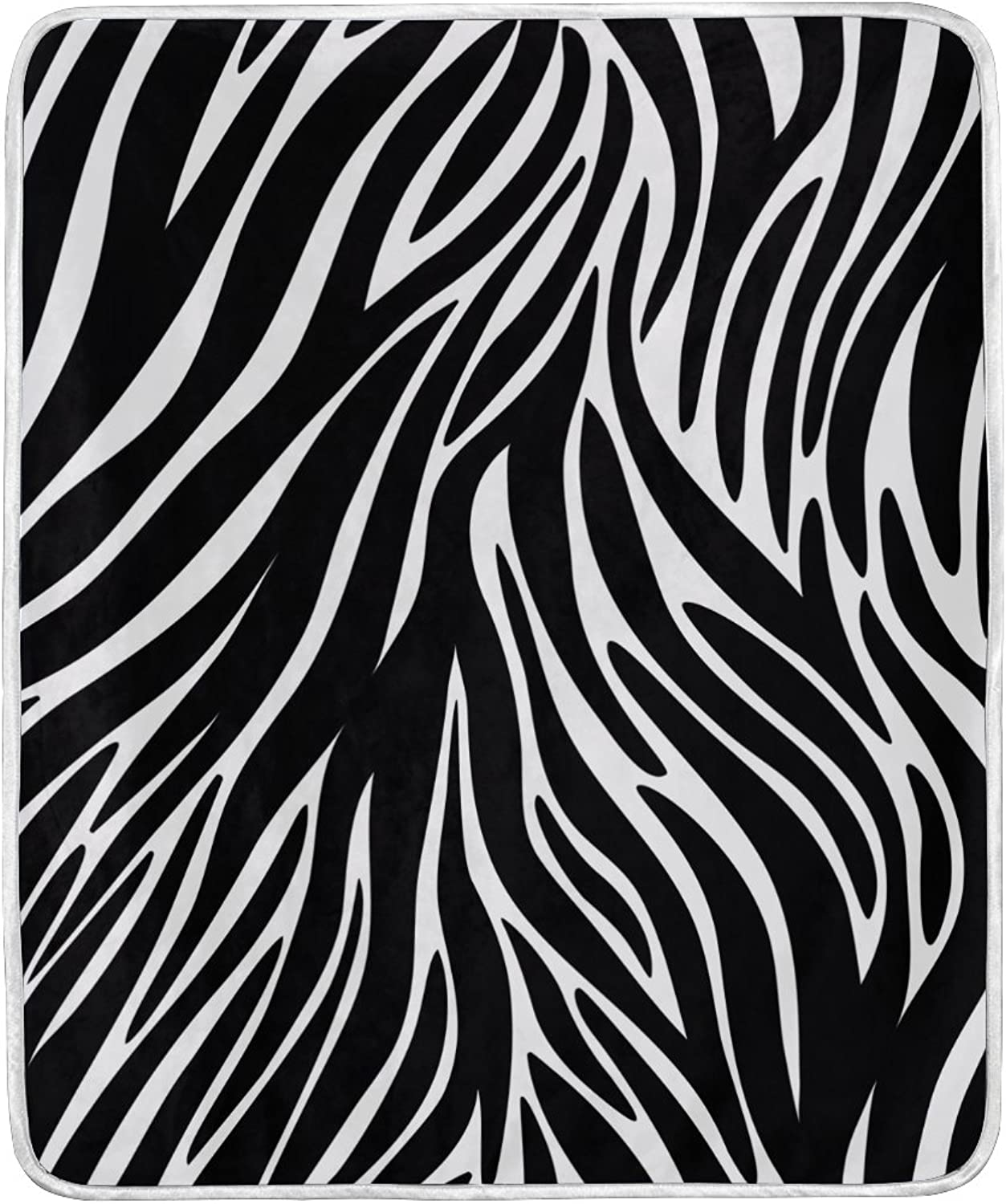 ALIREA Zebra Textures Super Soft Warm Blanket Lightweight Throw Blankets for Bed Couch Sofa Travelling Camping 60 x 50 Inch for Kids Boys Girls
