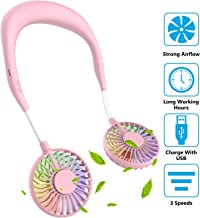 Hand Free Mini USB Personal Fan - Rechargeable Portable Headphone Design Wearable Neckband Fan,3 Level Air Flow,7 LED Lights,360 Degree Free Rotation Perfect for Sports, Office and Outdoor (Pink)