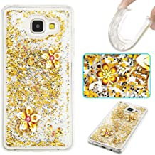 Owbb For Samsung Galaxy  2016  A310 4 7inch Case Silicone Flexible TPU Transparent Protective Cover with Glitter Flowing Liquid Dual Layer Shiny Quicksand Design Gold Butterfly Pattern