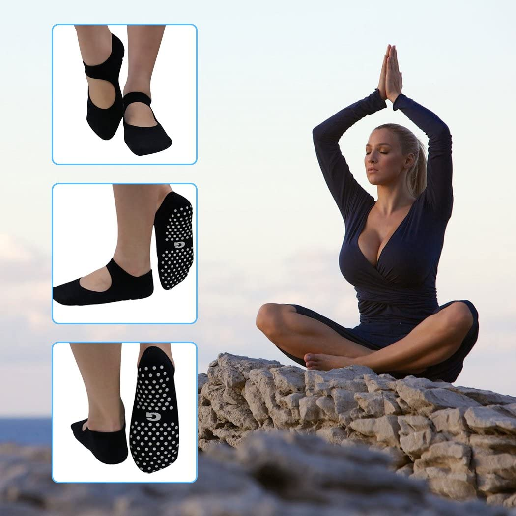 Women Yoga Socks Barefoot Workout 4 pairs 6 pairs Gmark with Grips for Pilates Pure Barre Dance Fitness