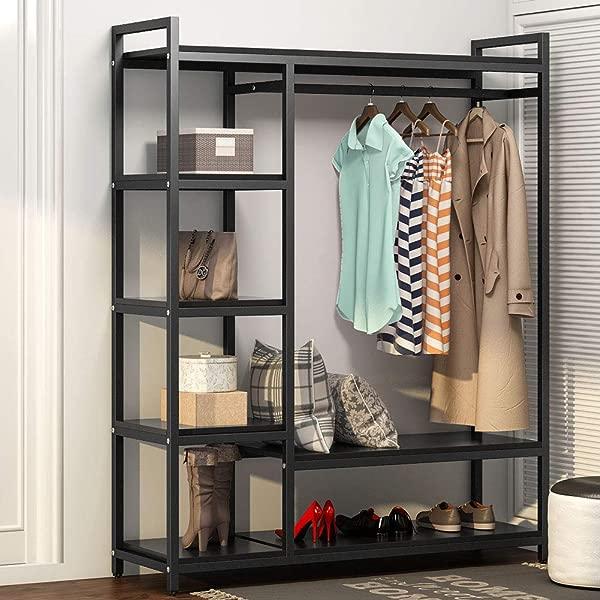 LITTLE TREE Free Standing Closet Organizer Heavy Duty Closet Storage With 6 Shelves And Handing Bar Large Clothes Storage Standing Garmen Rack Black
