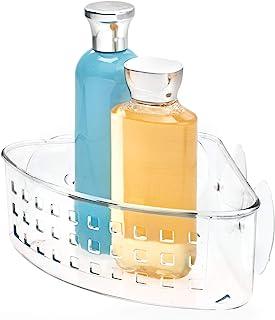 InterDesign Basic panier de douche de coin, valet de douche en plastique sans perçage avec ventouses, transparent