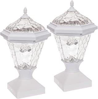 GreenLighting 2 Pack Adonia Solar Post Cap Light for 4 x 4 Wood Posts (White)