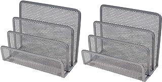 VANRA™ ミニ手紙オーガナイザー ポストカードラック 金属メッシュ レターラック デスク上置棚 2セット (2の銀)
