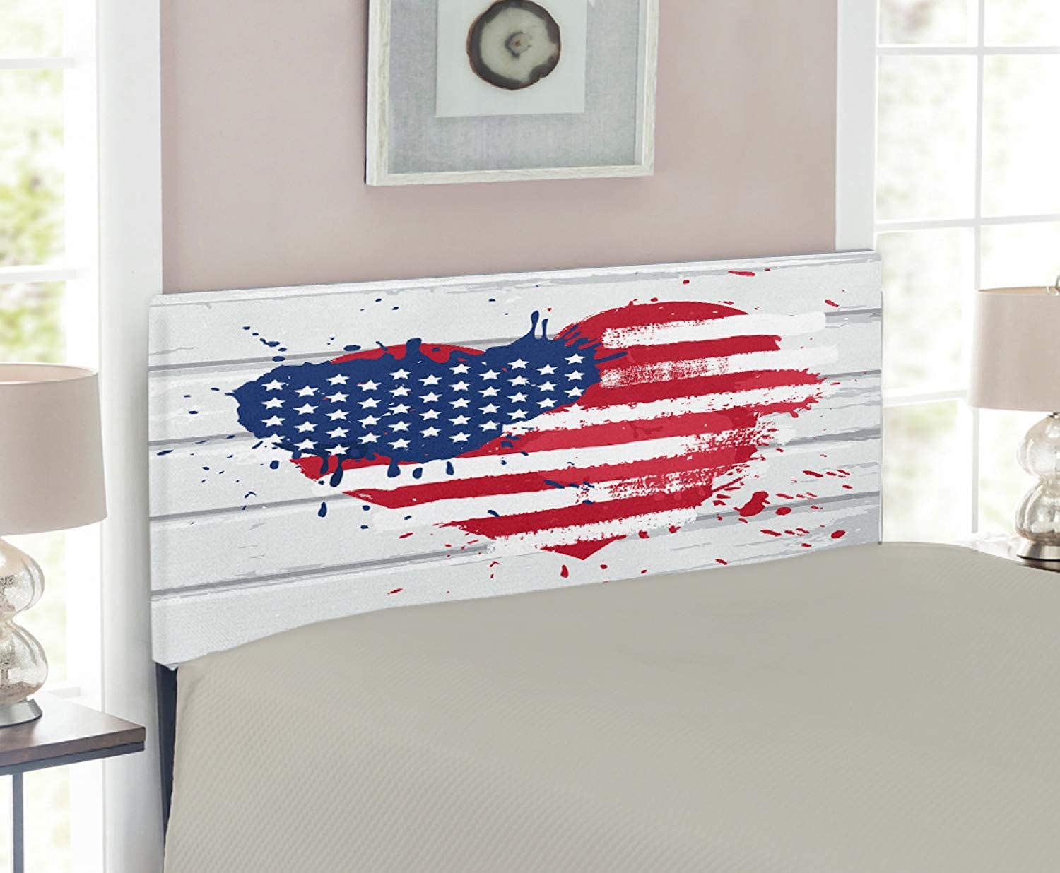 Lunarable Americana Headboard for Twin Size Bed, USA Flag in Heart Shape on Wood Holiday Splattered Grunge Style Illustration, Upholstered Decorative Metal Headboard with Memory Foam, Cream Red bluee