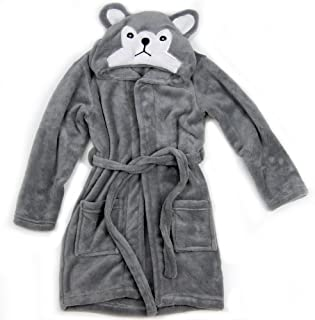 Hooded Fleece Toddler Robe (Gray Wolf)