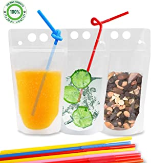 Drink Pouches Bags, 100 Pcs Zipper Plastic Pouches Drink Bags with Straws, Heavy Duty Hand-Held Translucent Frosted Reclosable Stand-up Bag Candy Straws Bag
