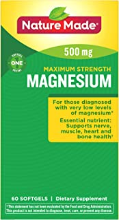 Nature Made Maximum Strength Magnesium 500 mg Softgels, 60 Count for Nutritional Support† (Packaging May Vary)