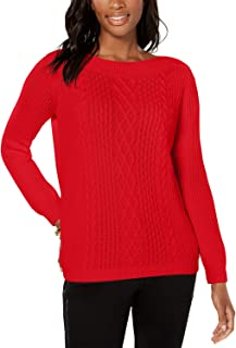 Womens Cable Knit Cotton Blend Sweater