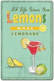 Vintage Retro Metal Tin Sign When Life give You Lemon Make Lemonade Home Kitchen Garage..