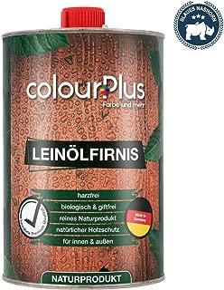 colourPlus Leinölfirnis 1 Liter, seidenglänzend Holz ÖL - Leinöl Holz - Holzschutzlasur - Holzöl innen - Holzöl Aussen - Made in Germany