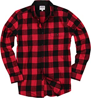 Mens Buffalo Plaid Flannel Shirt Button-Down Point Collar Options