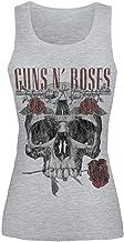 Guns N' Roses Flower Skull Mujer Top Gris/Melé, [Effekte/Besonderheiten] + Regular