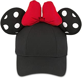 Minnie Mouse Polka Dot Ears Baseball Cap Hat with Bow for Adults Black