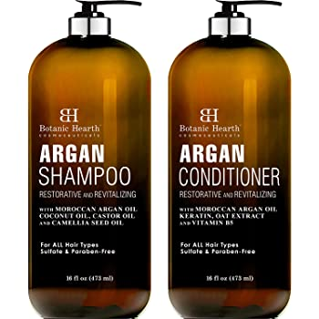 BOTANIC HEARTH Argan Oil Shampoo and Conditioner Set - with Keratin, Restorative & Moisturizing, Sulfate Free - All Hair Types & Color Treated Hair, Men and Women - (Packaging May Vary) -16 fl oz x 2