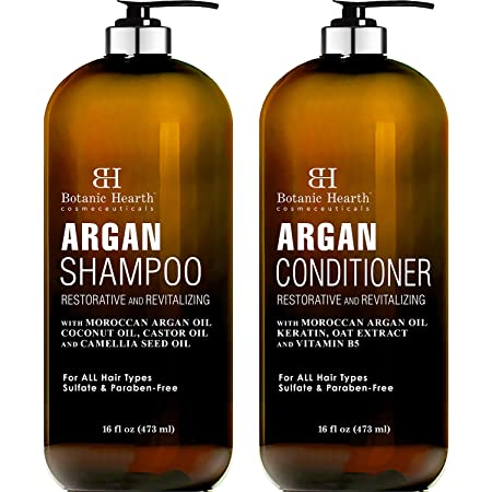 BOTANIC HEARTH Argan Oil Shampoo and Conditioner Set - with Keratin, Restorative & Moisturizing, Sulfate Free - All Hair Types & Color Treated Hair, Men and Women - (Packaging May Vary) -16 fl oz each