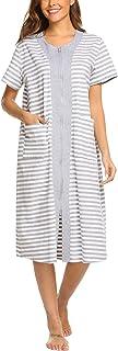 Ekouaer Zipper House Dresses Long Sleepwear Cotton Nightgowns Short Sleeve Housecoat with Pockets for Women
