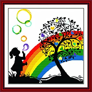 Benway Counted Cross Stitch Little Girl Playing with Colorful Bubbles in The Heart Trees 14 Count 42cm X 41cm
