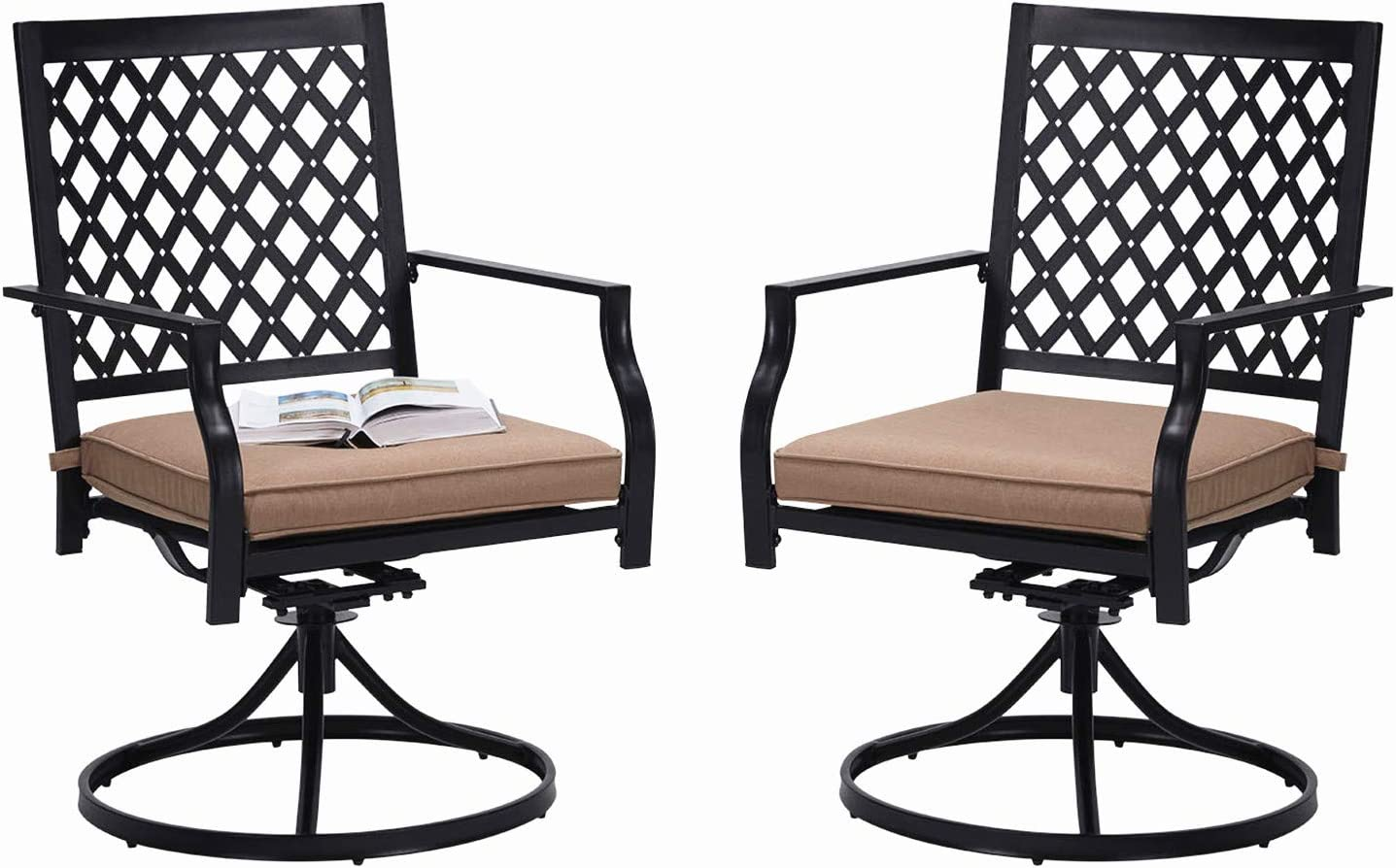 Outdoor Swivel Dining Chairs Patio Furniture Chairs Set with Cushion for  Garden Backyard