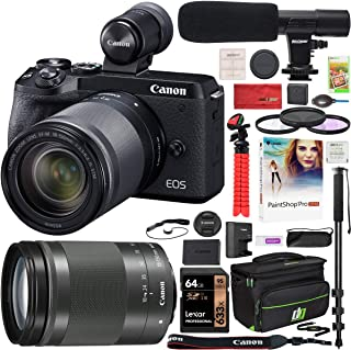 Canon EOS M6 Mark II 2 Mirrorless Digital Camera with 18-150mm f/3.5-6.3 is STM Lens and EVF Kit Black 3611C021 Bundle with Deco Gear Case + Microphone + Monopod + Filter Set + 64GB Memory Card