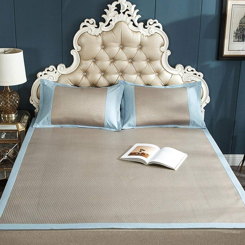 TYUIO Mattress Topper Pad Cooling Summer Sleeping Mat and Pillow Shams Set, Rattan mat mat Summer air-Conditioned Room Sleeping mat Foldable (color   D, Size   150X200cm)