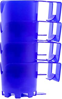 Storage Theory | Poolside Cup Holder | Designed for Above Ground Pools | Only Fits 2 inch or Less Round Top Bar | Blue Color | 4 Pack