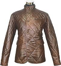 Vintage Leather Jacket Mens Padded Dark Brown Antique Checks Lining Gents Quilt