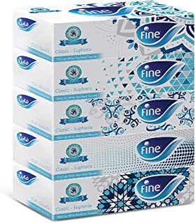 FINE Facial Tissues 150x2 Ply White Tissues - Mazaj / 5 Pack