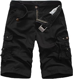92f7b6e3508d7 Elonglin Hommes Shorts Bermudas Cargo Outdoor Coton Casual Eté Cargo Shorts  Bermuda Pantacourt Camouflage sans Ceinture