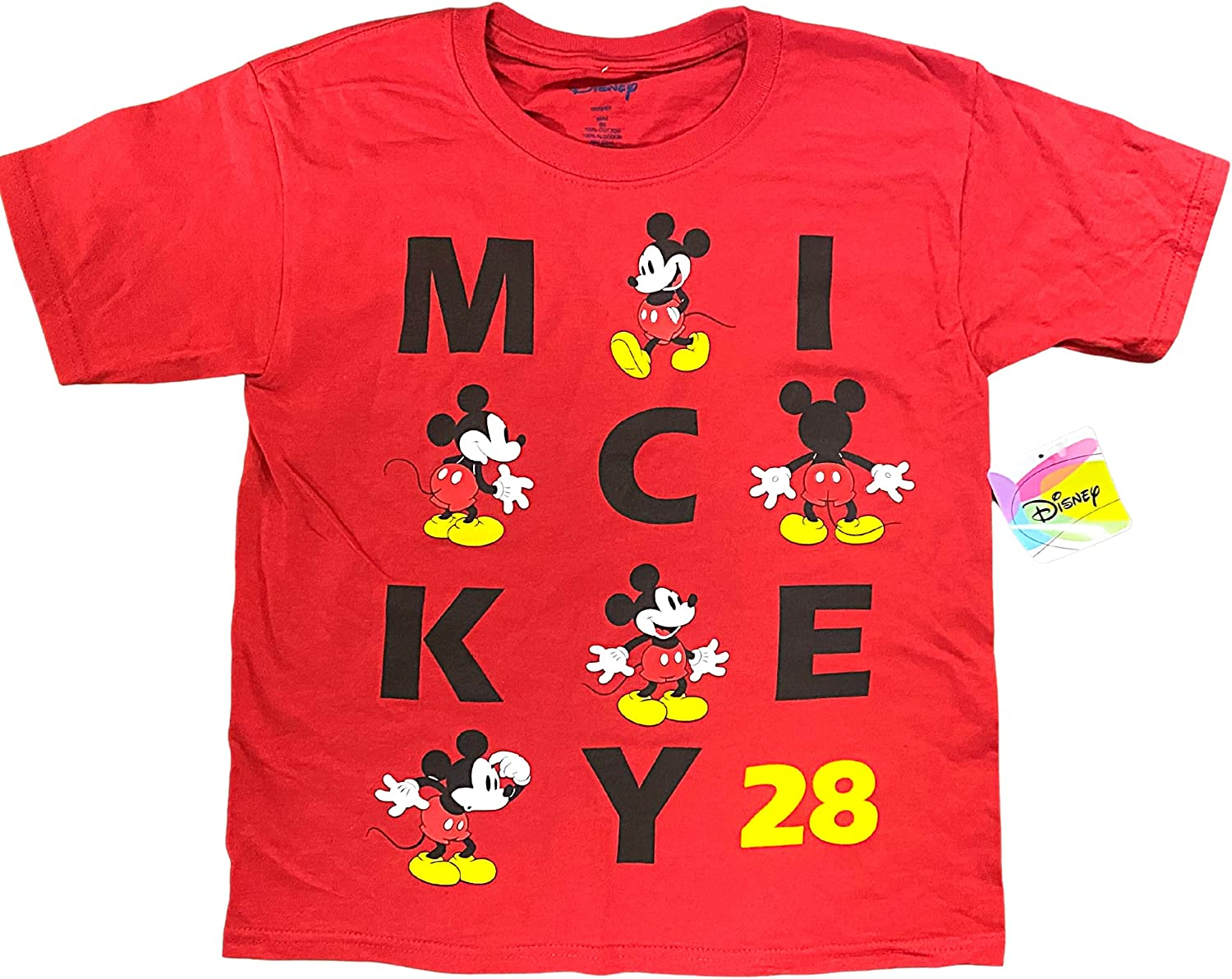 Disney Youth Boys Tee Big Mickey Name, Shirts for Travel and Vacation, Red (Small, one_Size)