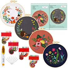 Caydo 4 Sets Full Range of Embroidery Starter Kit with Pattern, Cross Stitch Kit Include Embroidery Clothes with Floral Pattern, Plastic Embroidery Hoops, Color Threads and Tools and Instructions